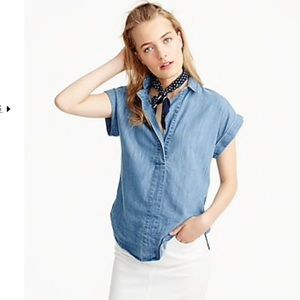 J. Crew | Chambray Popover Top Size 4